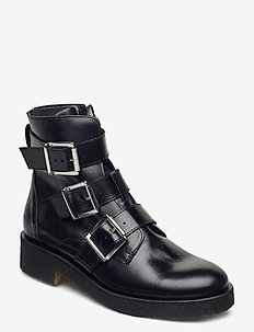 Booties - flat - with zipper - flat ankle boots - 1835 black