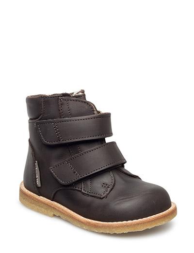 Boots - flat - with velcro - 1600/1600 DARK BROWN/DARK BROW