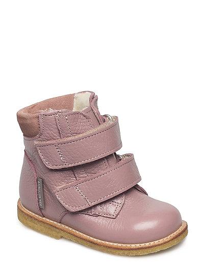 Boots - flat - with velcro - 2560/2194 L.PLUM/POWDER