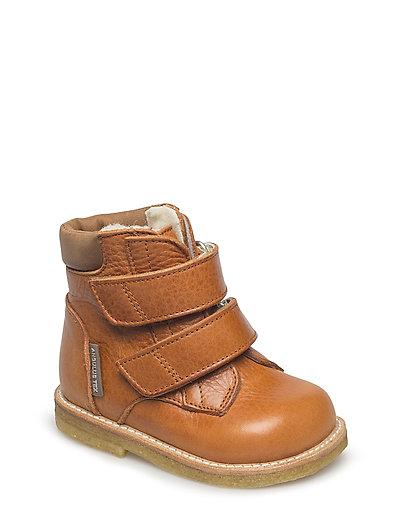 Boots - flat - with velcro - 2621/1589 COGNAC/COGNAC