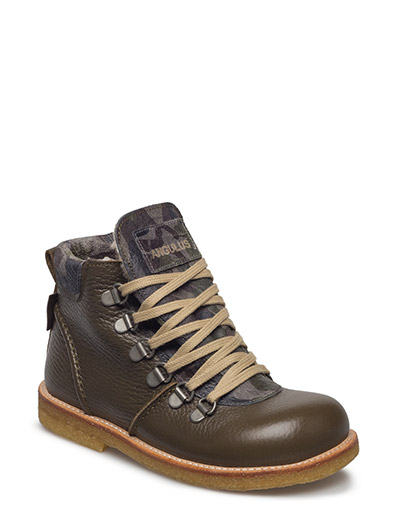 Boots - flat - with lace and zip - 2521/2175 ARMY GREEN ARMY