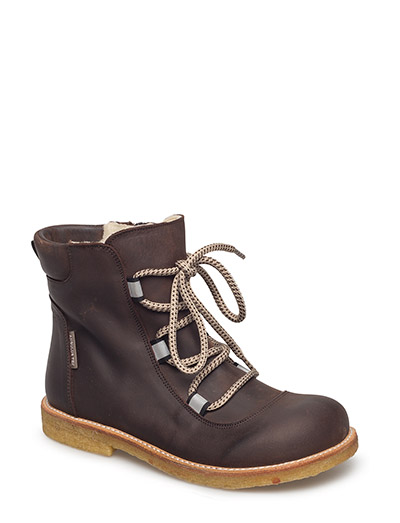 Boots - flat - with velcro - 1660/1660/2022 DARK BROWN