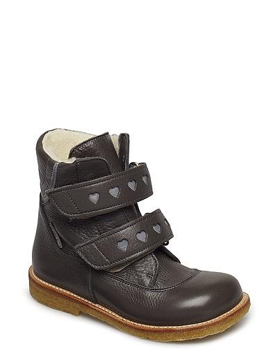 Boots - flat - with velcro - 2556/2012 DARK GREY