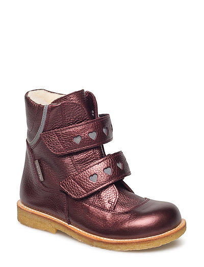 Boots - flat - with velcro - 1536/2012 BORDEAUX SHINE