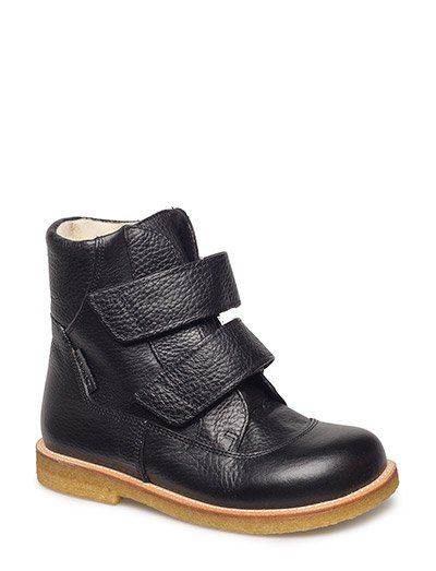 Boots - flat - with velcro - 2504 BLACK