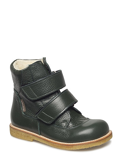 Boots - flat - with velcro - 2558 DARK GREEN