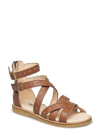 Sandal med studs and zipper - 1431 COGNAC