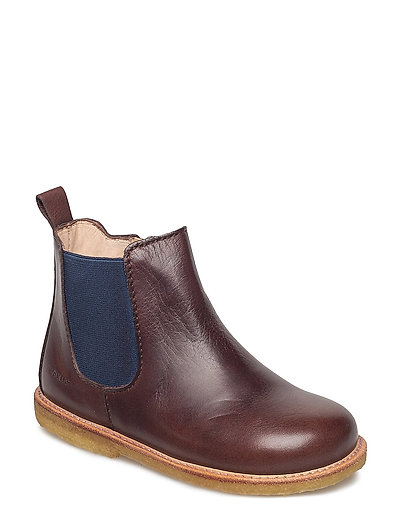 Booties - flat - with zipper - 1562/016 ANGULUS BROWN/BLUE