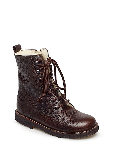 Boots - flat - with lace and zip - 2505 DARK BROWN