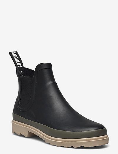 Rain boots - low with elastic - gummistøvler - 0018 black/olive