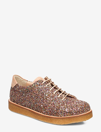 Shoes - flat - with lace - snøresko - 2488/1149 multi glitter/sand