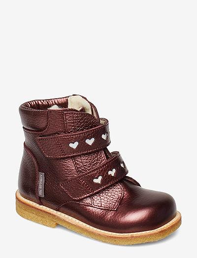 Boots - flat - with velcro - begyndersko - 1536/2012 bordeaux shine