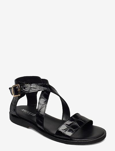 5442 - flade sandaler - 1674 black croco