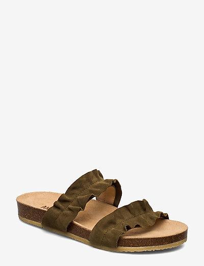 Sandals - flat - open toe - op - flade sandaler - 2207 khaki