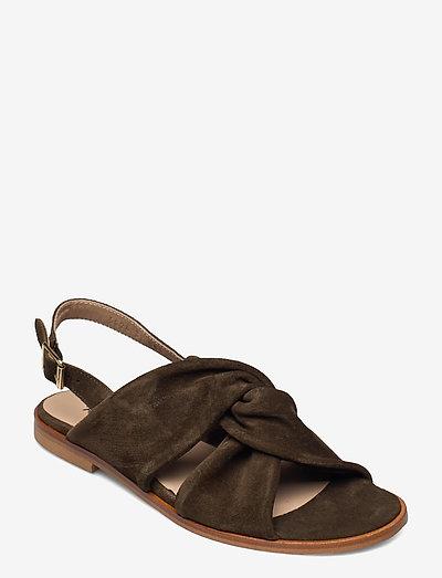 Sandals - flat - open toe - op - flade sandaler - 2214 dark olive