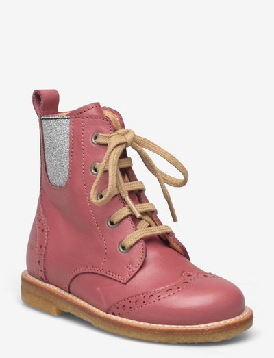 Boots - flat - with lace and zip - støvler - 1578/051 d.rose/silver