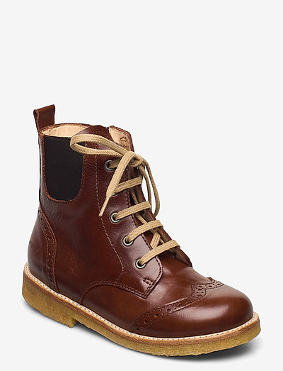 Boots - flat - with lace and zip - støvler - 1837/002 brown/dark brown