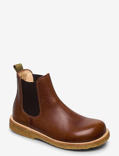 Booties - flat - with elastic - støvler - 2509/002/2043 cognac/brown/gre