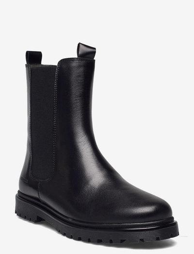 Booties - flat - with zipper - støvler - 1835/001 black/black