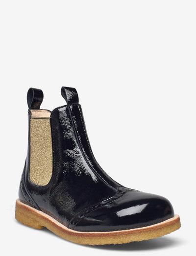 Booties - flat - with elastic - støvler - 1310/045 black/gold