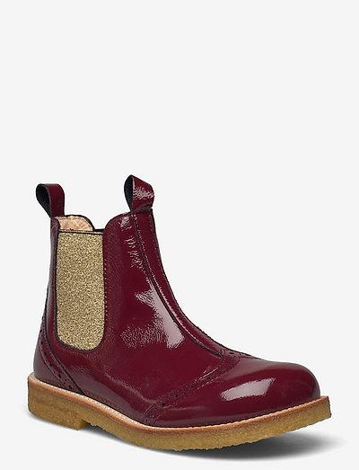 Booties - flat - with elastic - støvler - 2395/045 d.red/gold