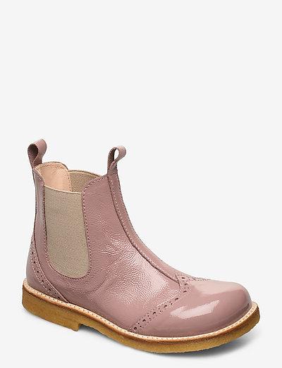 Booties - flat - with elastic - støvler - 1387/010 patent powder/beige
