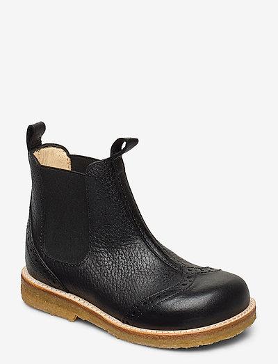 Booties - flat - with elastic - støvler - 2504/001 black/black