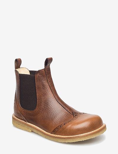 Booties - flat - with elastic - støvler - 2509/002 medium brown/medium b
