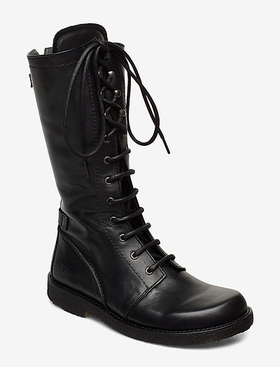 Long boot with laces. - langskaftede - 1604 black