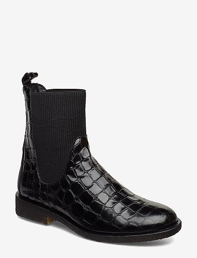 7317 - flade ankelstøvler - 1674/019 black croco/ black