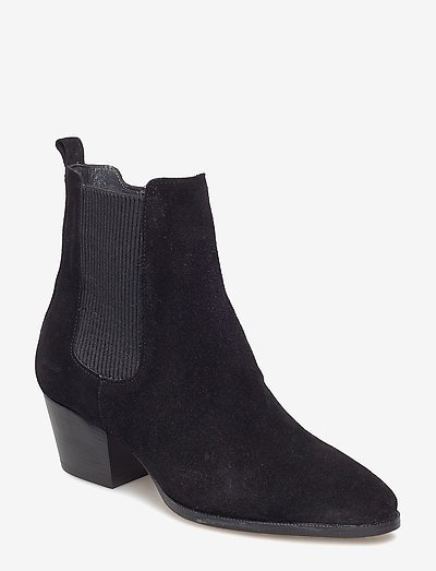 Booties - Block heel - with elas - ankelstøvler med hæl - 1163/019 black/black