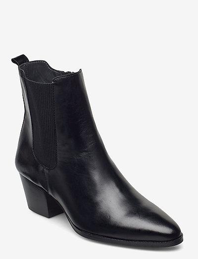 Booties - Block heel - with elas - ankelstøvler med hæl - 1835/019 black /black