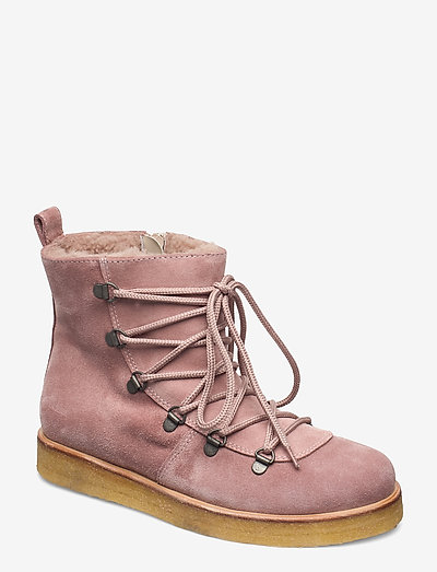 Boots - flat - with laces - flade ankelstøvler - 2194/2019 powder/ beige lambwo