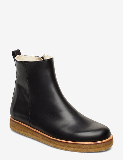 Boots - flat - with zipper - flade ankelstøvler - 1604 black