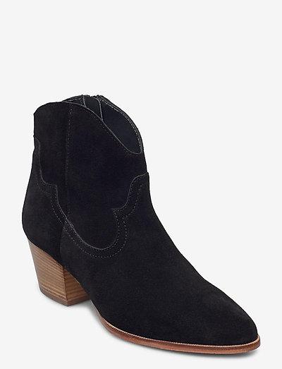 Booties - Block heel - with elas - ankelstøvler med hæl - 1163 black