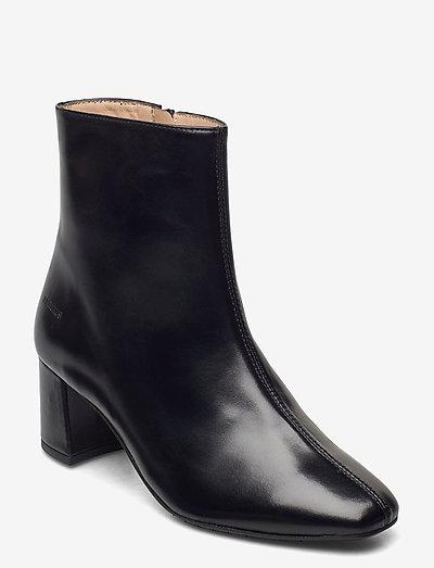 Bootie - block heel - with zippe - ankelstøvler med hæl - 1835 black