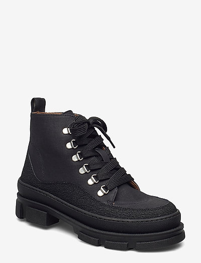 Boots - flat - with laces - flade ankelstøvler - 1321/2666 black
