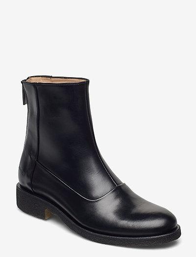 Booties - flat - with zipper - flade ankelstøvler - 1835 black