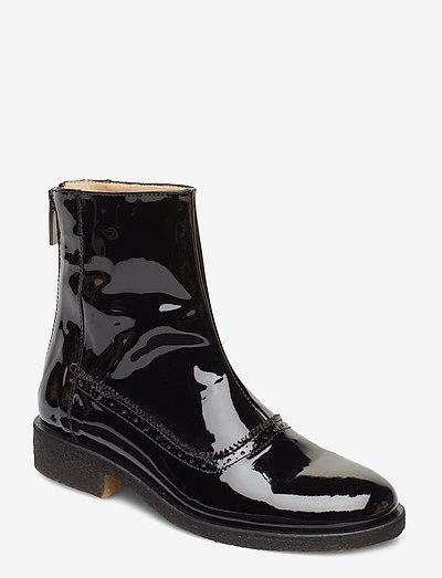 Booties - flat - with zipper - flade ankelstøvler - 2320 black