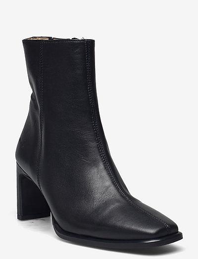 Bootie - block heel - with zippe - ankelstøvler med hæl - 1604/001 black/black