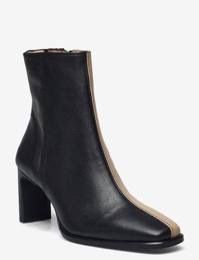 Bootie - block heel - with zippe - ankelstøvler med hæl - 1604/1571/001 blackt/beige/bla