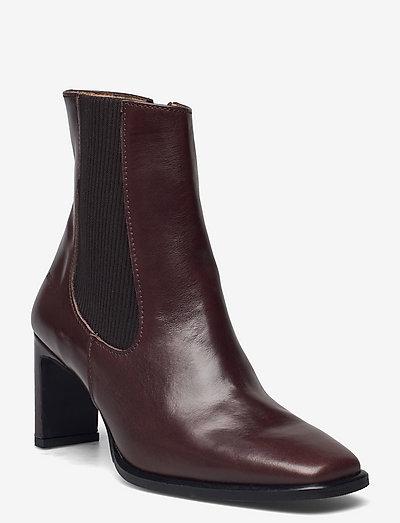 Bootie - block heel - with zippe - ankelstøvler med hæl - 1836/046 dark brown/d. brown