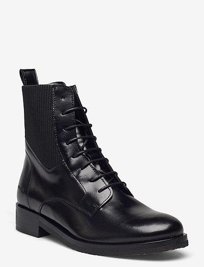 Booties - flat - with elastic - flade ankelstøvler - 1835/019 black /black