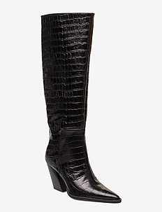 ESCAPE FROM THE WEST Tall Boot - høye boots - black croc