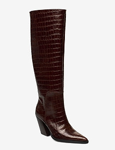 ESCAPE FROM THE WEST Tall Boot - høye boots - brown croc
