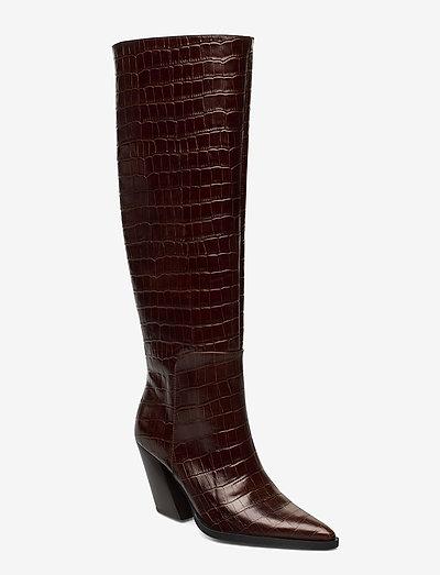 ESCAPE FROM THE WEST Tall Boot - lange laarzen - brown croc