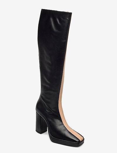 CROSSING THE LINE Tall boot - lange laarzen - black / beige combo