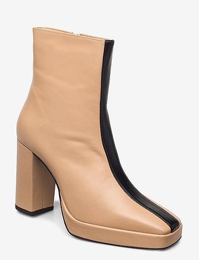 CROSSING THE LINE Ankle boot - enkellaarsjes met hak - beige / black combo