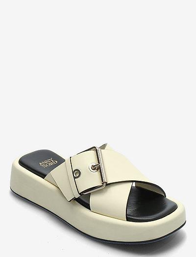 DETOX - platte sandalen - vanilla/black combo