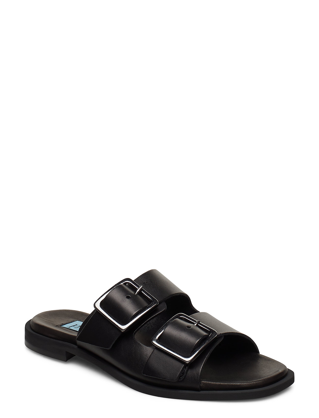 Image of Buckles Square Flat Shoes Summer Shoes Flat Sandals Sort Apair (3370075631)